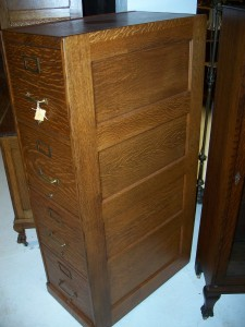 Great Panel Sided and backed Macey Oak File Cabinet. Refinished Condition. #0929977f