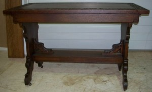 Great Oak Spanish Revival Library Table with Carved Band Top, Carved Ends and Carved Bottom Spreader Braces. #092720f