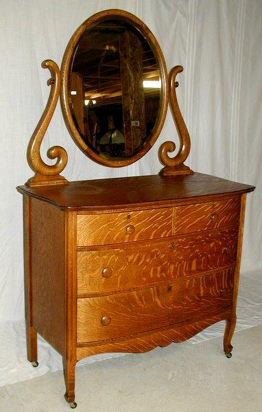 Oak Dresser 895 Quartersawn Bowfront Withbeautiful Beveled Mirror And Stylized Harp Simple Elegant