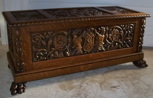 Extremely Fancy Carved Oak Blanket Chest with Lions, Floral Carvings and Claw Feet, #09250f