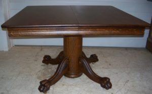 Great small 45 inch Kitchen Table with Claw Feet and Applied Carvings